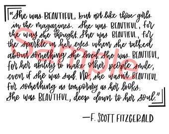 F Scott Fitzgerald Quote Digital Print