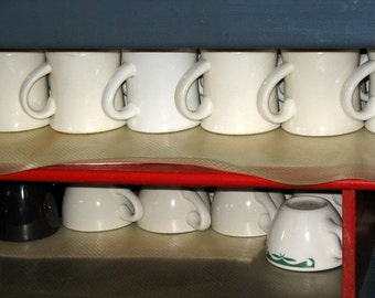 coffee mugs, Mid Century china mugs, vintage diner, restaurant, kitchen art,  kitchen photography, breakfast, red, white, green, wall art