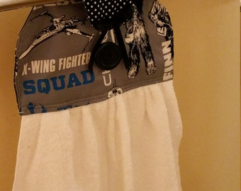 Kitchen/Bathroom hanging hand towel Star Wars and polka dot prints NEW cotton fabric Kitchen tea gift idea