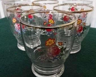 A Lovely Set of 6 Decorative Shot Glasses/Vintage/1950s