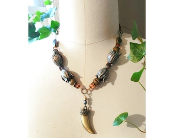 GILDED-MANE PENDANT : Oxidized Green Brass Tulip Necklace w/ Brass Tooth Pendant