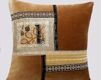 "Decorative pillow, Beige mixed fabric with applique throw pilow case, fits 18'x18"" insert, Toss pillow case, Cushion case."