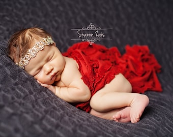 Red Ruffle Stretch Fabric Wrap Newborn Baby Photography Prop