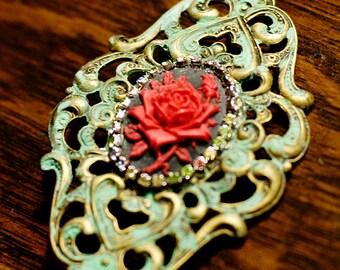 Red and Black Rose Cameo with Rhinestones on Verdigris Filigree Brooch, Holiday Brooch, Rose Brooch, Patina Brooch, Vintage Inspired, SRAJD