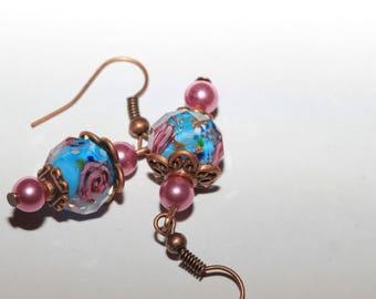 Stud Earrings for pierced ears lampwork glass beads