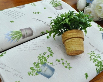 Cotton Linen Fabric Herb Flower Pot In 2 Colors By The Yard