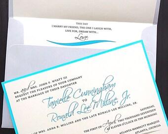 Pool Blue, Wedding Invitation, Pocket Style Invite, Ivory Wedding Invite