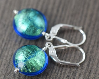 Turquoise earrings Venetian Murano glass earrings in Blue earrings blue glass earrings  for her