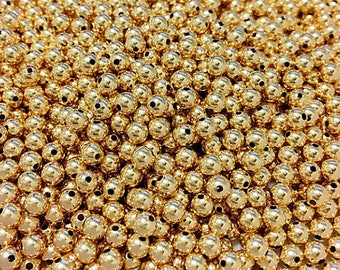 Wholesale 4mm gold filled beads, 500 Beads 14K Gold Filled Round seeamless beads with 1.15 -1.25mm Hole - GB204M-500
