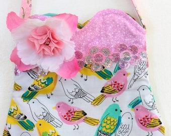 Pretty Parakeets, floral purse, toddler purse, girls purse, pom pom purse