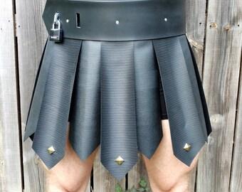 Gladiator Skirt with Belt, Black Rubber