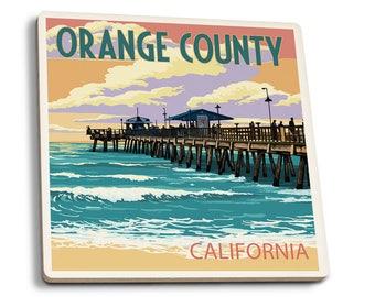 Orange County, CA - Pier and Sunset - LP Artwork (Set of 4 Ceramic Coasters)