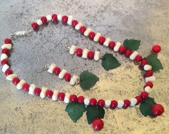 Retro style cherry necklace and earring set