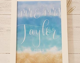 Beach wedding gift ideas, Destination wedding, Mr and Mrs print, first Anniversary gift, first Anniversary present, Personalised gift