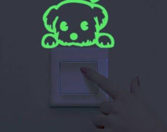 Playful Puppy Decal - Glow in the Dark Kids Room Decal/Sticker