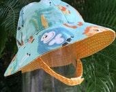 Reversible Toddler Sun Hat - Safari Friends