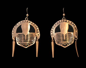 Etched and formed Copper Cryptolithus Trilobite Earrings