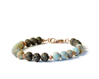 Aromatherapy Essential Oil Diffuser Bracelet, Natural Lava Stones and Blue Lace Agate