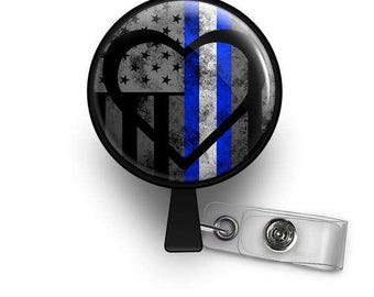Thin White Line Symbolic Heart Retractable ID Badge Reel