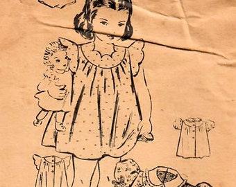 Mail Order 2273 Vintage Sewing Pattern Infant and Toddler Dress, Party Dress, Bishop Dress, Panties Size 1