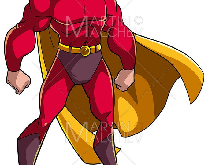 Superhero Standing Tall - Vector Cartoon Illustration. super, hero, man, power, superman, comic book, comics, style, strong,