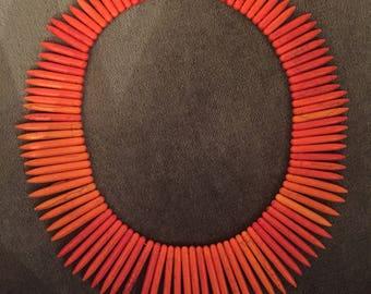 Orange Spiked Howlite Gemstone Beaded Necklace