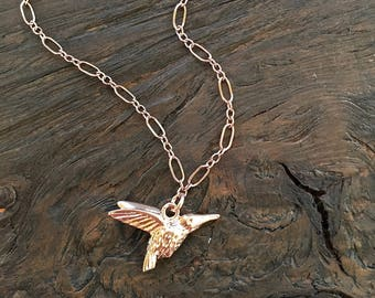 Rose gold hummingbird necklace, rose gold necklace