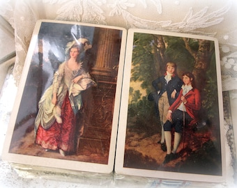 vintage playing cards 2 decks in original wrapper original box . unOPENED midway plastic coated playing cards marie antoinette style cards