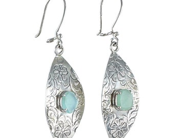 Peruvian Opal Sterling Earrings Etched Marquis Shape