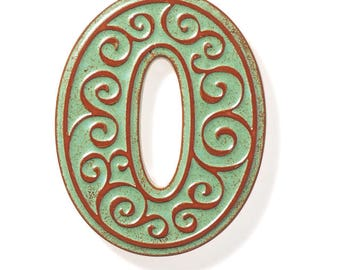 ceramic house number 0 , green-brown