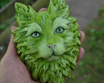 Green Cat 'Blossom' Spring plaque cast stone relief sculpture handpainted
