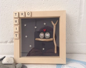 Couple of Owls in tree, night, art gift . Handmade, box framed 8 X 8, scrabble, night. Ready to be sent