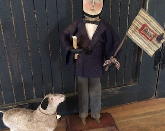 Primitive Abe Lincoln Doll and Lamb