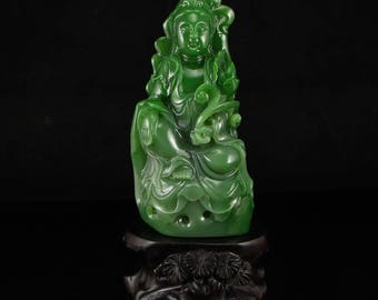 N3886  Superb Chinese Natural Hetian Jade Kwan-yin Statue w Certificate