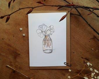 Peony Illustration Blank Note Card