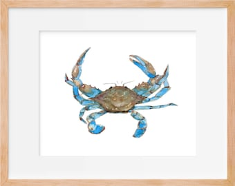 Blue Crab 101 Print, Maryland Crab, Crab Art, Beach House Decor, Coastal Decor, Beach, Nautical, Decor, Print, Crab Wall Art, Beach House Cr