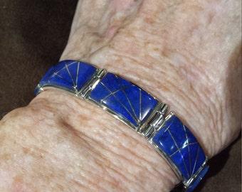 Sterling silver inlay lapiz artist bracelet