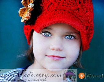 Red Crochet Newsboy Hat with Brown Flowers, Crochet Red Hat, Red Newsboy Hat, Red Hat for Toddler, Winter Red Hat, 2T 3T 4T