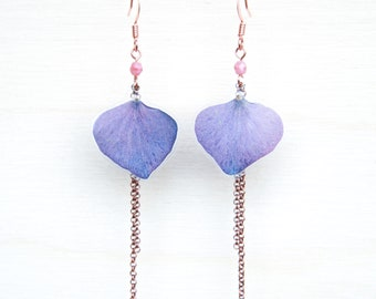 Purple Hydrangea Pressed Petal Earrings with Pink Glass Beads & Double Rolo Dangles