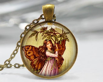 Fairy Pendant, Fairy Necklace, Fairy Jewelry, Fairy Jewellery, Vintage Fairy Art Pendant, Glass Dome Pendant, Faerie, Whimsical Fairy 1230