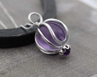 Silver Amethyst Necklace - Sterling Silver Caged Necklace - Gift for her - Amethyst Jewelry - Birthstone - Crystal Necklace