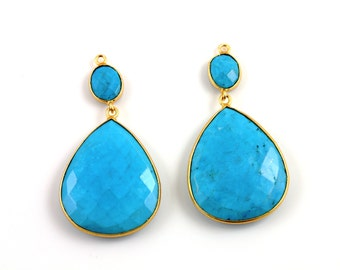 Genuine Turquoise Earrings Bezel Gemstone Component,  Gold Vermeil,  ,  10mm and 30 mm, Sold in Pairs, (EARR/TURQ/01)