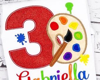 Paint Party Birthday Shirt, Painting Birthday, Paint Palette and Paint Brush Birthday, Painting Applique, Painting, Paint Birthday Applique