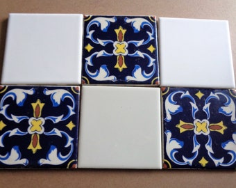 Set of 3 Mexican and 3 White Tile Vintage  Focal Tiles for Mosaics