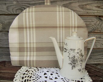 Plaid Coffee Pot Cozy, Polyester/ Cotton Cozy, Plaid, Beige,  Coffee Pot Warmer, Handmade, Large Size,