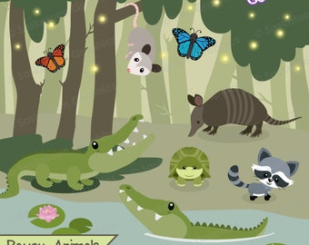 Bayou Swamp Animal Clipart - Instant Download File - Digital Graphics - Crafts, Web Design - Commercial & Personal Use - South -#A022