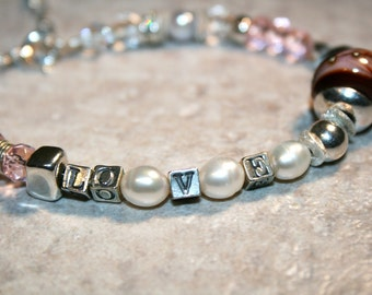 LUVE Lampwork, Glass, Pearl and Sterling Bracelet