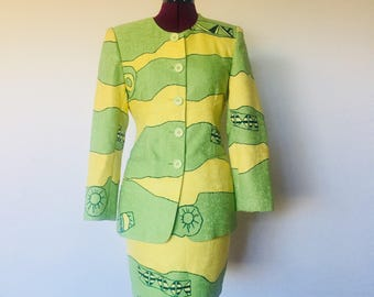 90s Skirt Suit Jacket Green Yellow Abstract Size 2 3 XS by Buffett Bibgy