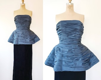 Victor Costa dress / blue evening gown / Peplum Velvet gown