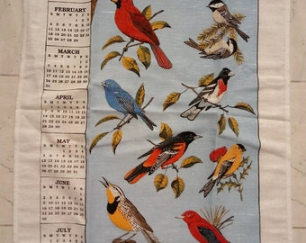 Vintage 1996 Stevens tea towel New Blue Birds Cardinal Bluebird Gold Finch